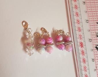 Rose glass 5 pink crochet/ knitting stitch markers, charms
