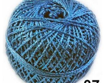 Blue Metallic Yarn, Metallic Yarn, Blue Yarn, Brocat Yarn, Glitter Yarn, Shinning Yarn, Sparkle Yarn, Knitting Yarn, Crochet Yarn, Lame Yarn