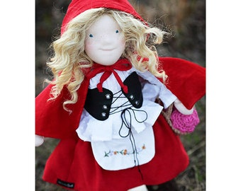 18 inch waldorf inspired art doll RED RIDING HOOD