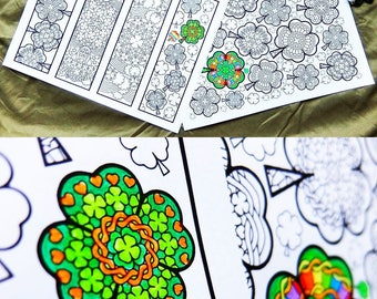 St. Patrick's Day coloring bundle - 4 printable st patricks day coloring pages, coloring book with bookmarks, leprechauns, clover