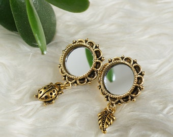 Earrings Mirror, 12mm glass, antique gold (#7119)