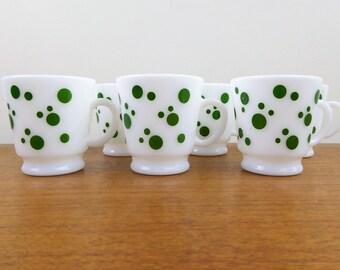 Hazel Atlas Green Dots   7 Mugs for Holiday Hospitality Set   Tom & Jerry Set   Punch Bowl Set   Milk Glass