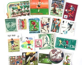 20 x Football Soccer postage stamps - from 17 countries, used, off paper, all different - Player Footballer - for collecting, paper craft