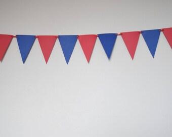 Red Blue Paper Banner,Paper Pennant,Birthday Party Decor,Wedding Decor, Baby Shower-Nursery Decor, Anniversary-Triangle Flag Banner,Handmade