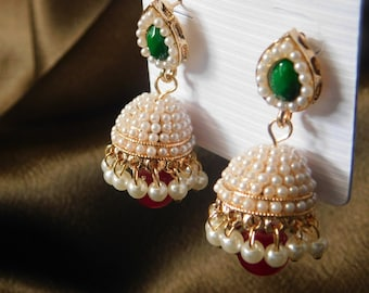 Indian style jhumka with pearls