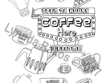Coffee Time MCM instant download Coloring Page, colouring sheet printable coloring, print and color diy printable downloadable, Gift for Her