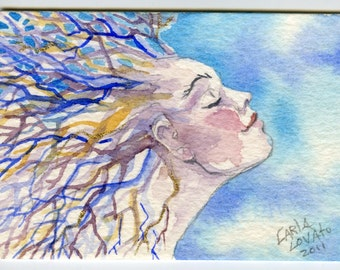 Tree Spirit  watercolor painting  AcEO Giclee print