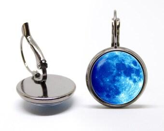 Moon earrings Blue moon earrings Moon jewelry Gift for daughter Full moon earrings Lunar earrings Moon jewellery Moon gift Jewelry for girls