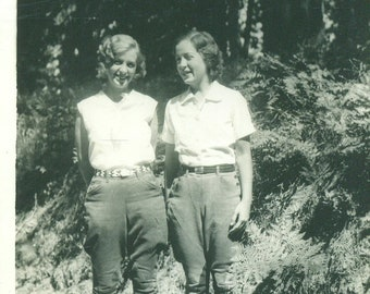 1930s Women in Pants Camp Knickers Boots Standing Outside Woods Forest 30s Vintage Photograph Black White Sepia Photo