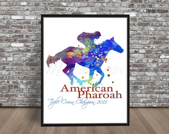 American Pharoah Watercolor, Pharoah watercolour, Race Horse painting, Triple Crown Champion Print, thoroughbred painting, Pharoah print