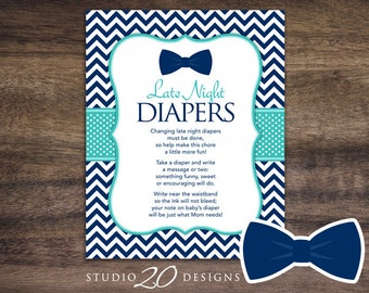 Instant Download Bow Tie Late Night Diapers, 8x10 Turquoise Navy Little Man Diaper Thoughts, Bowtie Baby Shower Decorate Diaper Activity 79B