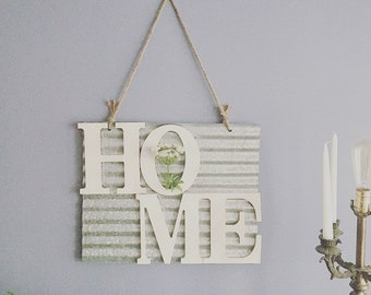 Metal Home Sign with Queen Anne's Lace