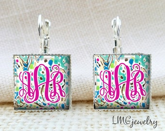 Monogram Earrings, Lilly Pulitzer Inspired Monogram Earrings, Monogram Jewelry, Monogram Drop Earrings, Escapades in the Everglades Print