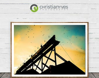 "Vancouver Canada Landscape Photography, ""A Flight Over Bridges"" Home Decor Wall Art Fine Art Print Modern Photography"