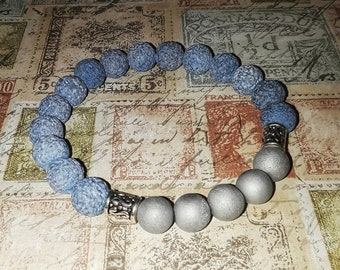 Blue lava & gray agate bead bracelet