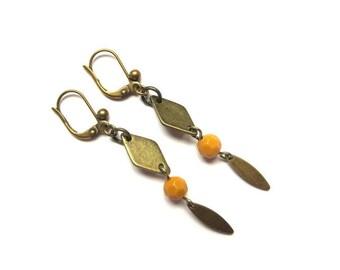 Diamond and yellow bead earrings