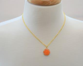 Orange Resin Flower Necklace