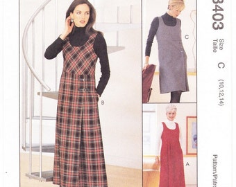 McCall's 8403 Misses Jumper Pattern, Sizes 10, 12, 14 Easy Jumper Pattern, Back Zipper Closure Jumper, Two Lengths, Sewing Pattern, Uncut