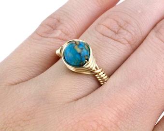 Gold Aqua Ring, Aquamarine Ring, March Birthstone Ring, March Ring, Wire Wrap Ring, Wire Wrapped Ring, Boho Ring, Bead Ring, Beaded Ring