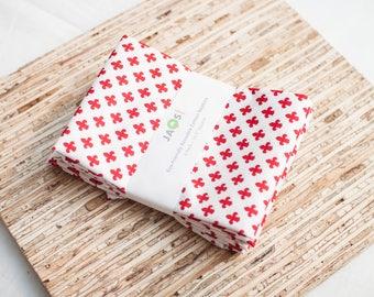 Large Cloth Napkins - Set of 4 - (N3430) - Red Fleur Modern Reusable Fabric Napkins