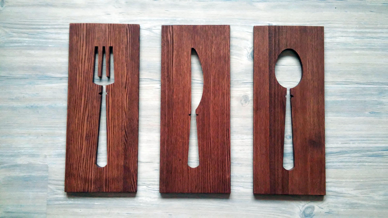 Holz Küche Wandhängen Schild 13\'\' Gabel Löffel Messer