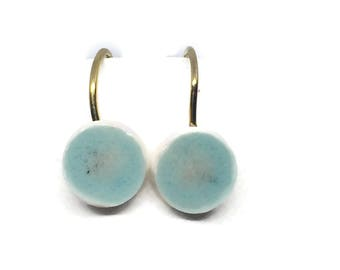 Dangle earring with turquoise unique glazed bead. Ooak dangle. Boho jewelry. 100% handmade bead on a gold plated 925s sterling dangle.