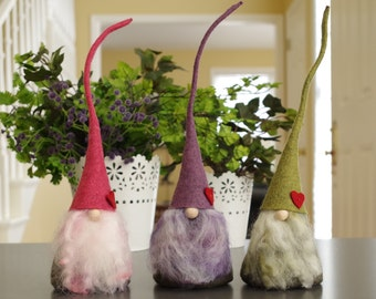 Cotton Candy Heart Gnomes, CIMMI Nordic Gnome, Scandinavian Gnomes, Pink, Purple, Mother's Day Gifts, Nordic, Swedish, The Gnome Makers