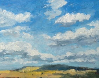 Afternoon Mesa Cloud Shadows - New Mexico - Original Oil Landscape Painting