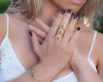 Rainbow Labradorite Ring * Boho * Gemstone *Handmade * Bohemian * Gold Plated *Statement * February * March Birthstone* Gypsy *Bycila BJR028