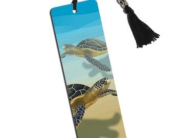Sea Turtle Printed Bookmark With Tassel