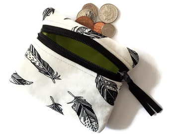 Feather coin purse, change purse, coin pouch, zipper pouch