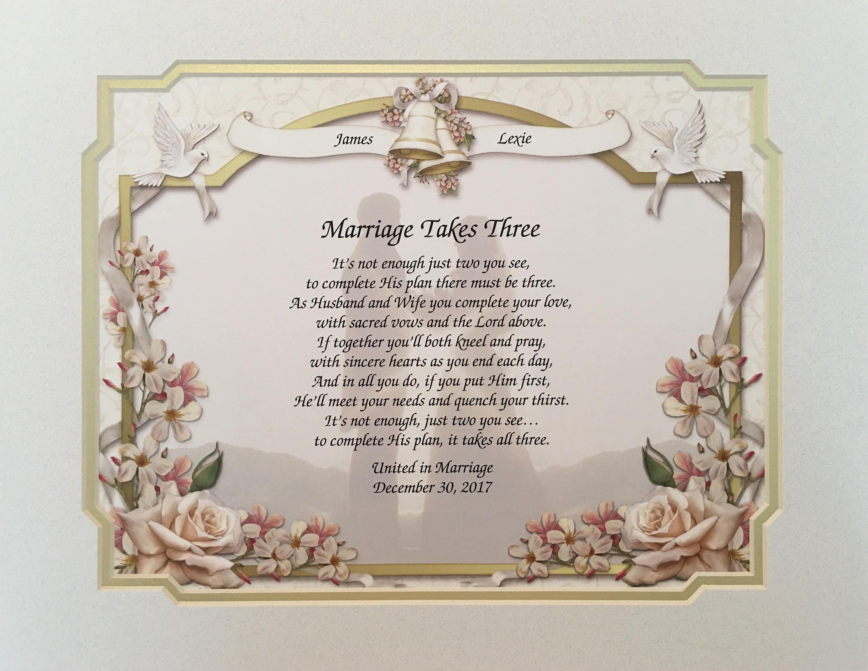 Poem For Wedding Gifts: Wedding Gifts Marriage Takes Three Wedding Poem