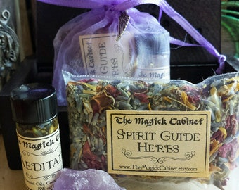 Meditation Kit with Meditation Oil a Amethyst Crystal and Spirit Guide herbs, Mini Witch Kit with Herbs, Witchcraft Herbs, Wicca Supply
