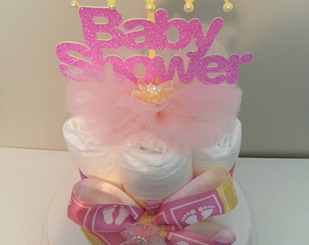 Baby Shower Diaper Cake, Mini Diaper Cakes, Baby Shower Centerpiece, Baby Shower Decoration, Baby Girl, Baby Decoration, Baby Party