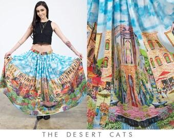 vintage 90s skirt vintage 1990s indian cotton gauze skirt vintage 90s boho bohemian festival skirt with bells gauze skirt with town scene