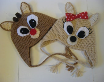 Children's Rudolph the Red Nosed Reindeer or Clarice Hat with Earflaps