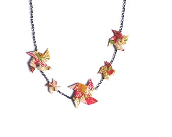 Necklace Origami Pinwheels Fall leaves