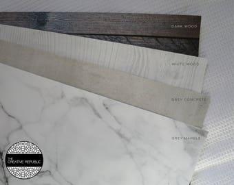 Bundle of 4 | Grey Marble | Grey Concrete | White Wood | Dark Wood | Style It Backdrops | Photo Backdrops | Photo Props | Australian Seller