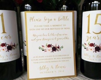 Guest Book Anniversary Wine Labels 4+ labels, 1 instructional sign..choose your colors and numbers....Vintage Roses