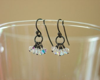 Swarovski Crystal and Oxidized Sterling Silver Earrings / Crystal Earrings / Aurora Borealis / Black Metal / Antiqued / Dainty