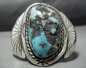 One Of The Best Vintage Native American Navajo Persin Turquoise Sterling Silver Bracelet