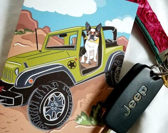 Offroad Boston Terrier Greeting Card