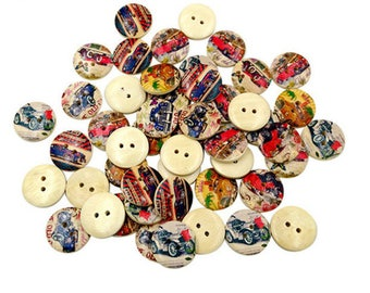 Set of 10 old cars wooden buttons