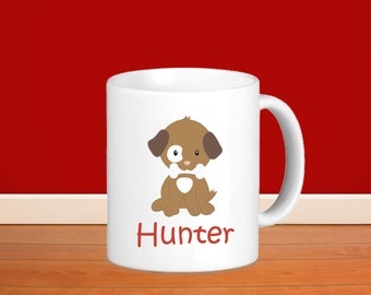 Puppy Dog Personalized Mug - Puppy Dog Brown White Spot Eye with Name, Child Personalized Ceramic or Poly Mug Gift