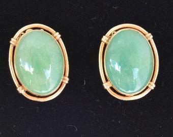Rings Gold Earrings 14k and Jade - 14 k Gold Jade Earrings