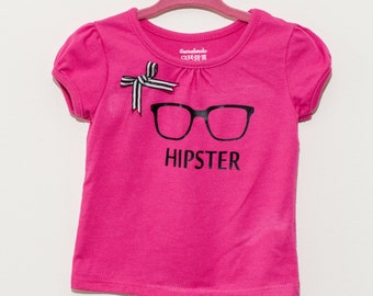 Toddler Girls Hipster glasses with bow, size 12 months, Hot pink