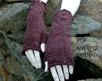 Fingerless mitten knitting pattern, pdf pattern, fingerless mitts pattern, wristwarmers, knitting pattern ladies, knitting pattern for women