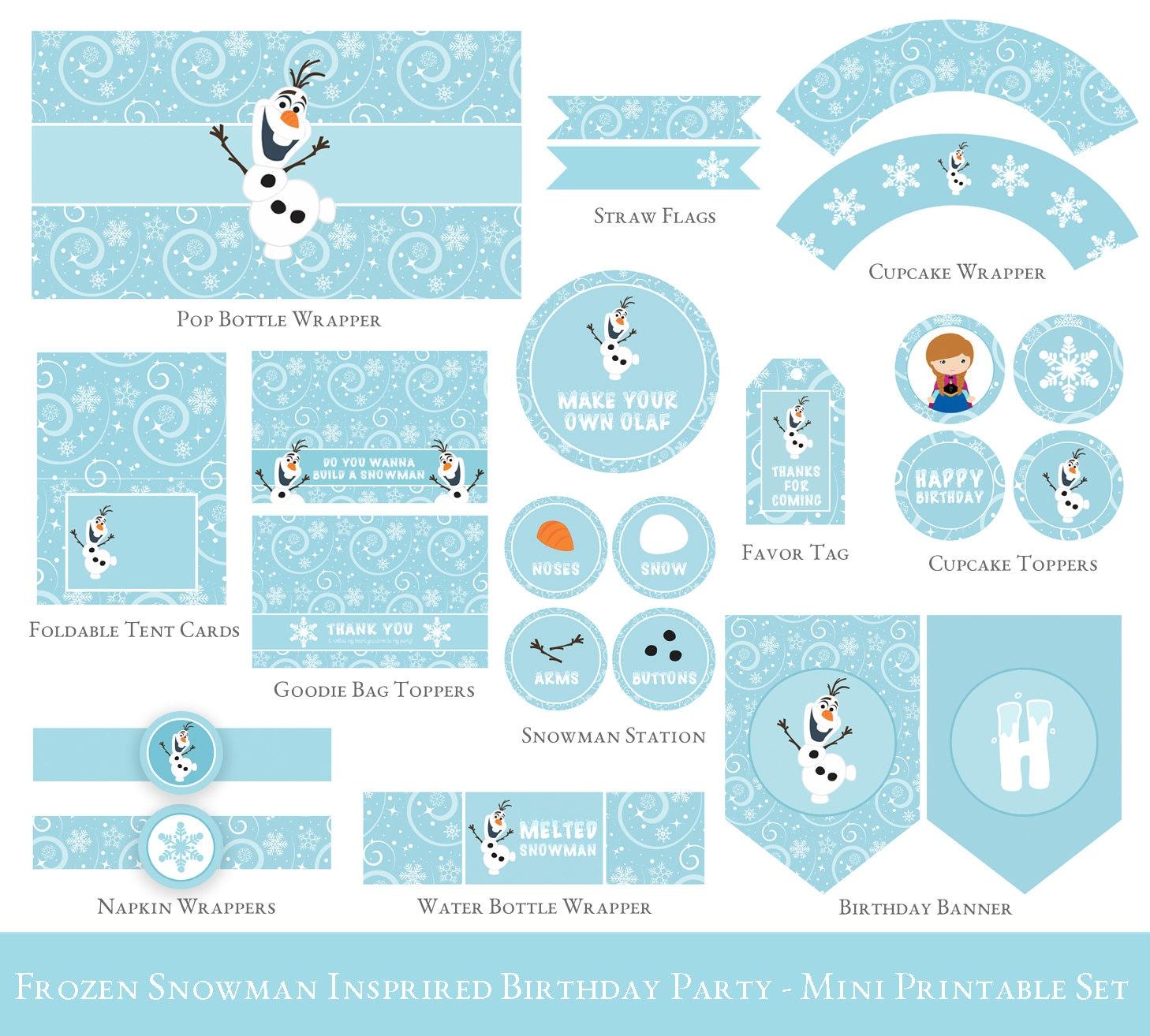 frozen birthday printable set olaf birthday party