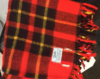 Faribo Blanket Red Black Yellow Tartan Plaid Stadium Blanket 70s Seventies Fariboult Woolen Mill Co Pendleton Style