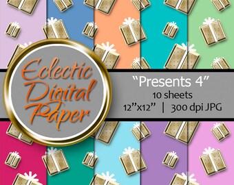Digital Paper Presents, Gold Presents 4, Digital Birthday Presents, Birthday Presents Paper, Gold Christmas Presents, Presents Digital Paper